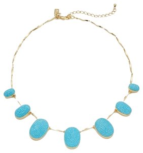Kate Spade Gold-Tone Turquoise-Colored Pave Frontal Necklace