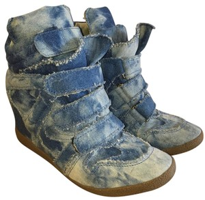 Steve Madden Wedge Sneakerwedge Velcro Blue. Light denim Athletic