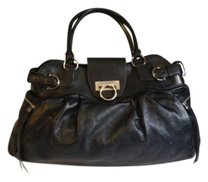 Salvatore Ferragamo Leather Large Silver Hardware Clasp Satchel in Black