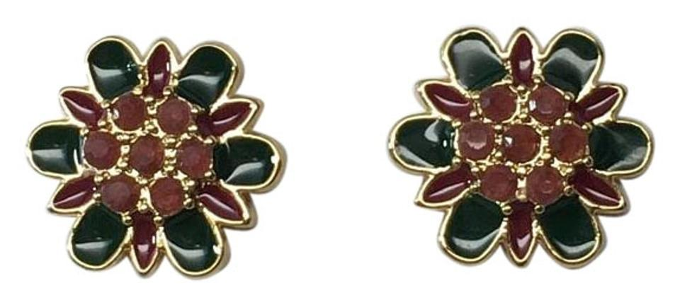 cecd1a256 Kate Spade Gold-Plated Bold Blooms Green Multi color Stud Earrings ENAMEL  Image 0 ...