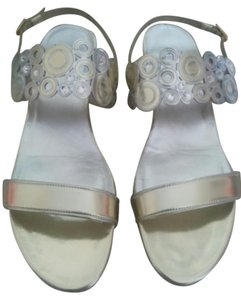 Stuart Weitzman Pale Gold with silver and stone accents Sandals