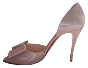 Christian Louboutin Patent Leather Bow Nude Pumps