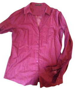 The Limited Button Down Shirt maroon with pink dots