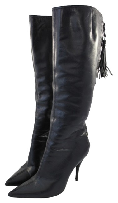 Item - Black Lace Up Studded Heel Knee High Boots/Booties Size US 10 Regular (M, B)