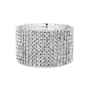 10-row Clear Rhinestone Silver Stretch Bridal Bracelet