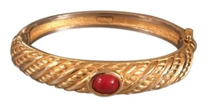 Dior Christian Dior Gold Red Bangle Bracelet
