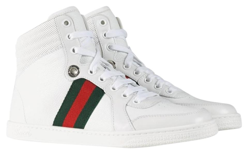 061d33619d6 Gucci Sneaker High Top Mens Monogram White Body and Sole Red and Green  Stripe Athletic Image ...