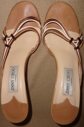 Jimmy Choo Multi, Tan, Brown, White Sandals