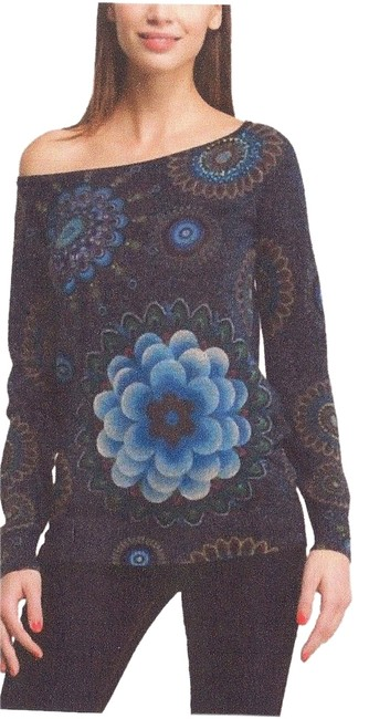 Desigual Sequins Floral Evening Chic Exotic Fun Sweater