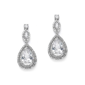 Stunning Double Pave Crystal Pear Drop Couture Bridal Earrings