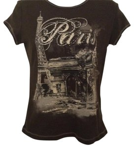 Blue Canyon Paris Vintage T Cap Sleeve T Studded T T Shirt Chocolate Brown and Cream