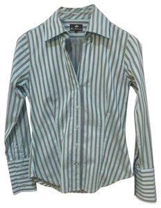 Ben Sherman Nordstrom Purchased High-quality Cotton Retail Like New Lt Button Down Shirt Light Aqua Blue and Taupe Stripe