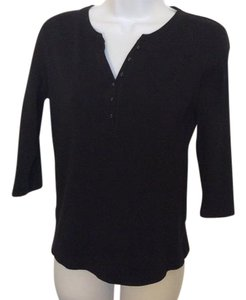 Karen Scott Pull Over Button T Shirt Black