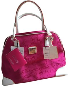 Diane von Furstenberg Fucshia/White with Orange Piping Exterior and Orange Interior Travel Bag