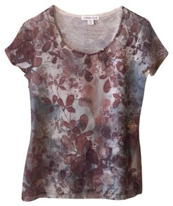 Coldwater Creek T Shirt Varying shades of beige,brown&soft teal