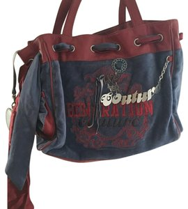Juicy Couture Navy and Maroon velour bag Satchel in Blue