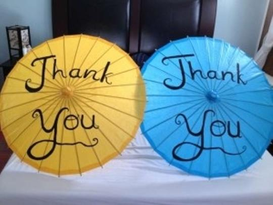 Blue Just Married Or Thank You Paper Parasol Reception Decoration
