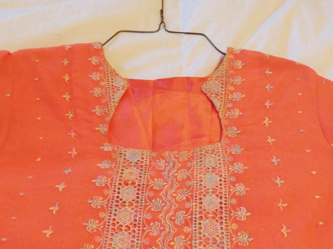 Orange Maxi Dress by Other Shalwar Kameez White Lace