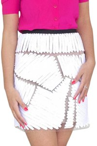 Sachin + Babi Textured Silk Mini Skirt White