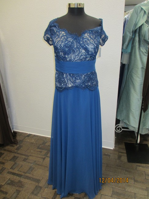 Montage Blue Willow Chiffon/Lace 113941 Mother Of Bride - (Mon-1) Formal Bridesmaid/Mob Dress Size 20 (Plus 1x) Image 1