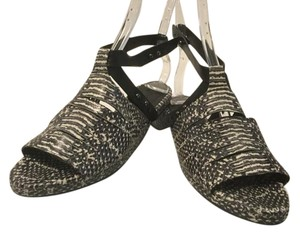 Freda Salvador All Leather Ankle Straps Black and white embossed Sandals