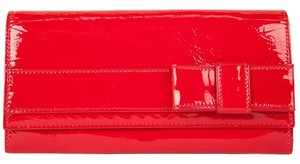 Valentino Valentino Red Patent Leather Bow Front Fold Over Wallet
