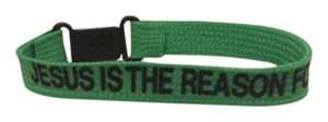 Jesus is the reason for the season wrist band Bracelet Green & Black