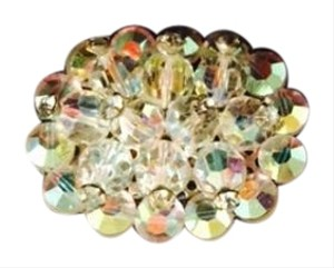 Other Vintage Brooch Pin Opalescent Beads & Rhinestones 1 1/3
