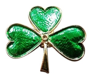 Other 3 Leaf Lucky Clover Brooch Pin Green & Gold Tone missing center stone