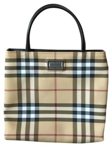 Burberry Tote in tan, red, black, Plaid