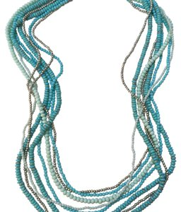 Lucky Brand Beaded Multi Strand Long Necklace Blue