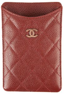 Chanel Chanel Dark Red Quilted Leather Phone Case