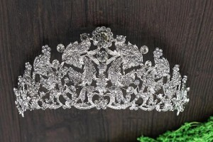 Silver Frontal Floralized Crystral Tiara