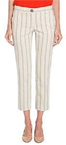 Tory Burch Tb Nwt Striped Capris Tapioca/Shore Khaki