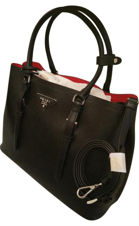 Prada Tote In Black W Red Napa Lining