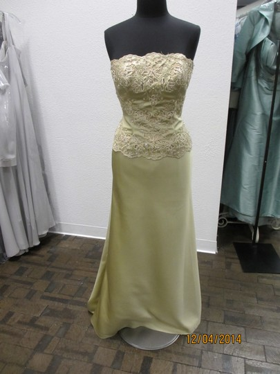 Montage Gold Satin 18912 (Mon-27) Formal Bridesmaid/Mob Dress Size 4 (S)