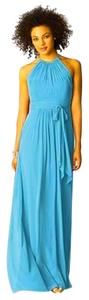 After Six Full Length Halter Chiffon Blue Dress