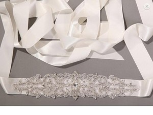 New Crystal Beaded Sash With Satin Ribbon