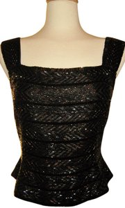 Carmen Marc Valvo Top Black and Iridescent
