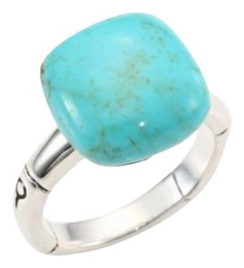 John Hardy Bamboo 14mm Sterling Silver Turquoise Cushion Ring