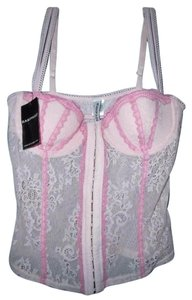 Rampage Fairy Hook And Eye Stretch Lace Feminine Top Pink