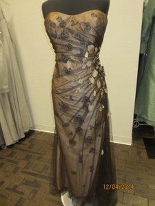 Montage Coffee/Nude Tulle 112924 Formal Bridesmaid/Mob Dress Size 14 (L)