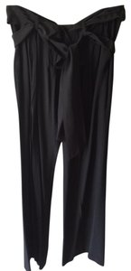 BCBGMAXAZRIA Silk Wide Leg Trouser Pants black