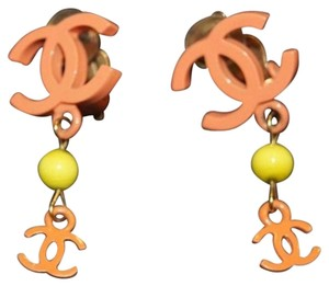 Chanel [ENTERPRISE]Authentic Chanel Neon Orange & Yellow Drop CC Logo earring