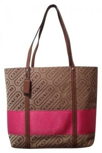 Coach Tote in Brown with Pink