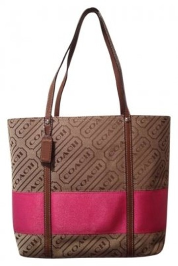 Preload https://img-static.tradesy.com/item/154541/coach-brown-with-pink-canvas-leather-trim-tote-0-0-540-540.jpg