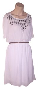 Francesca's short dress white Studded Embellished Summer Lined on Tradesy
