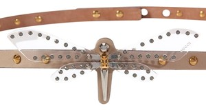 Gucci Beige Leather Studded Dragonfly Belt