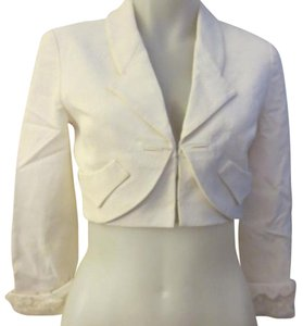 Zac Posen Fitted Cropped White White Cream Blazer