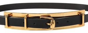 Gucci Black Leather Belt with Golden Plate Buckle